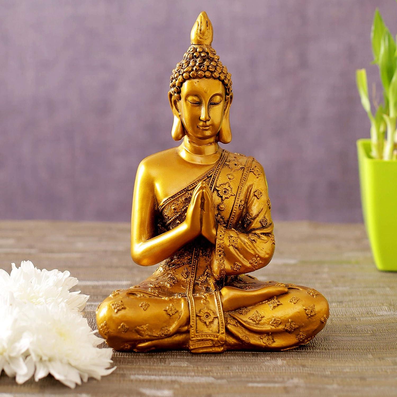 TIED RIBBONS Buddha Statue Figurine- Buddha Handmade Collectible for Home Decor Living Room Bedroom Temple Desktop Office Decor Golden Meditation Praying Buddha Statue