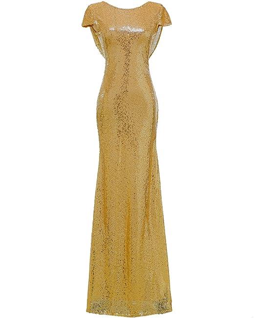 Vestido largo de Solovedress, para mujer, corte sirena, con lentejuelas brillantes, para