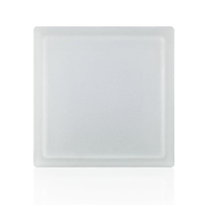 Milchglas 5 St/ück FUCHS Glassteine Riva Wei/ß 2-seitig satiniert 24x24x8 cm