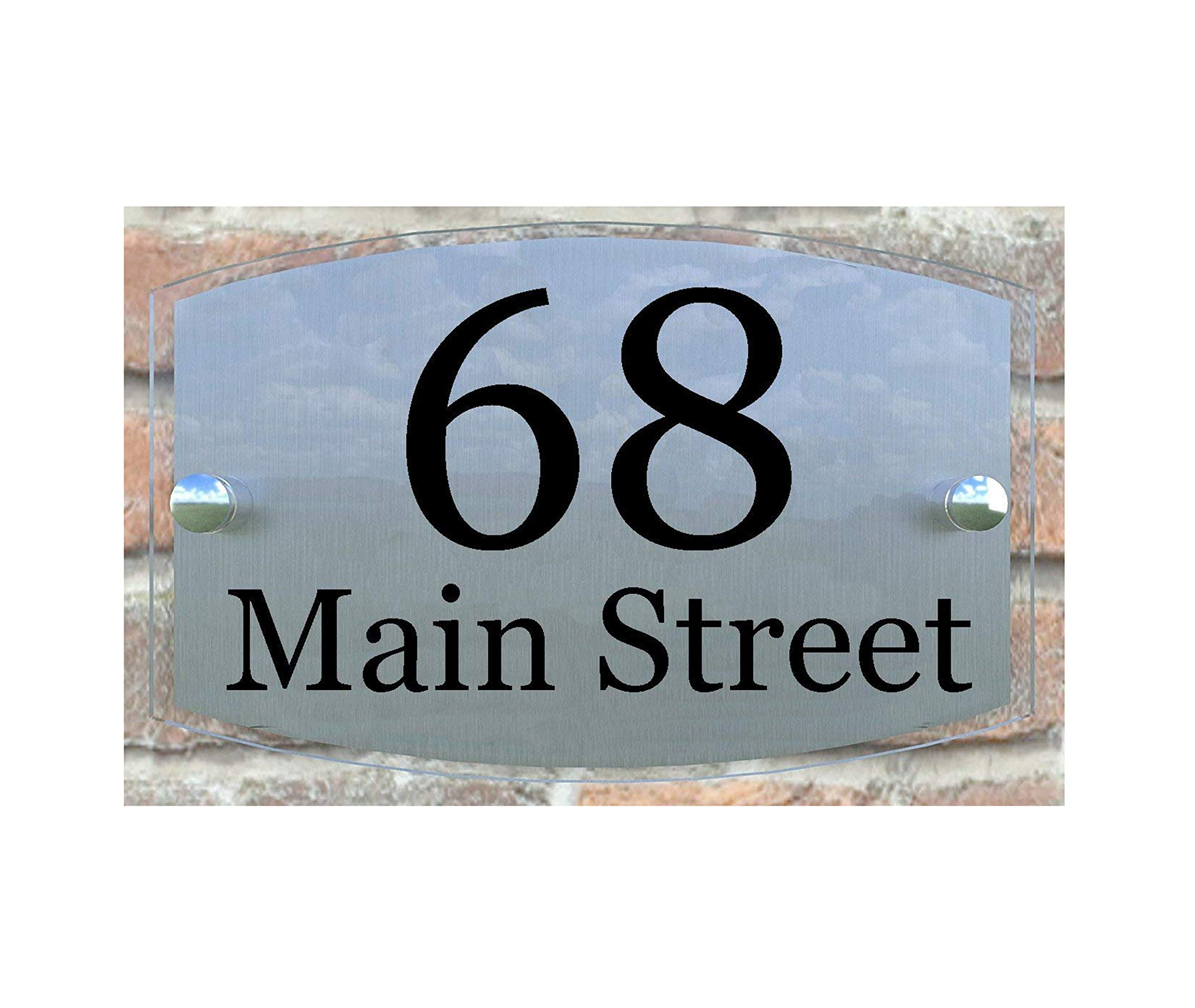 House Plaque Door Number Home Address Plate, 8''x 5'' x 1'' Size Clear Acrylic Front and Brushed Aluminum Background Double Panel (Curved Clear Acrylic) by ThedisplayDeal (Image #1)