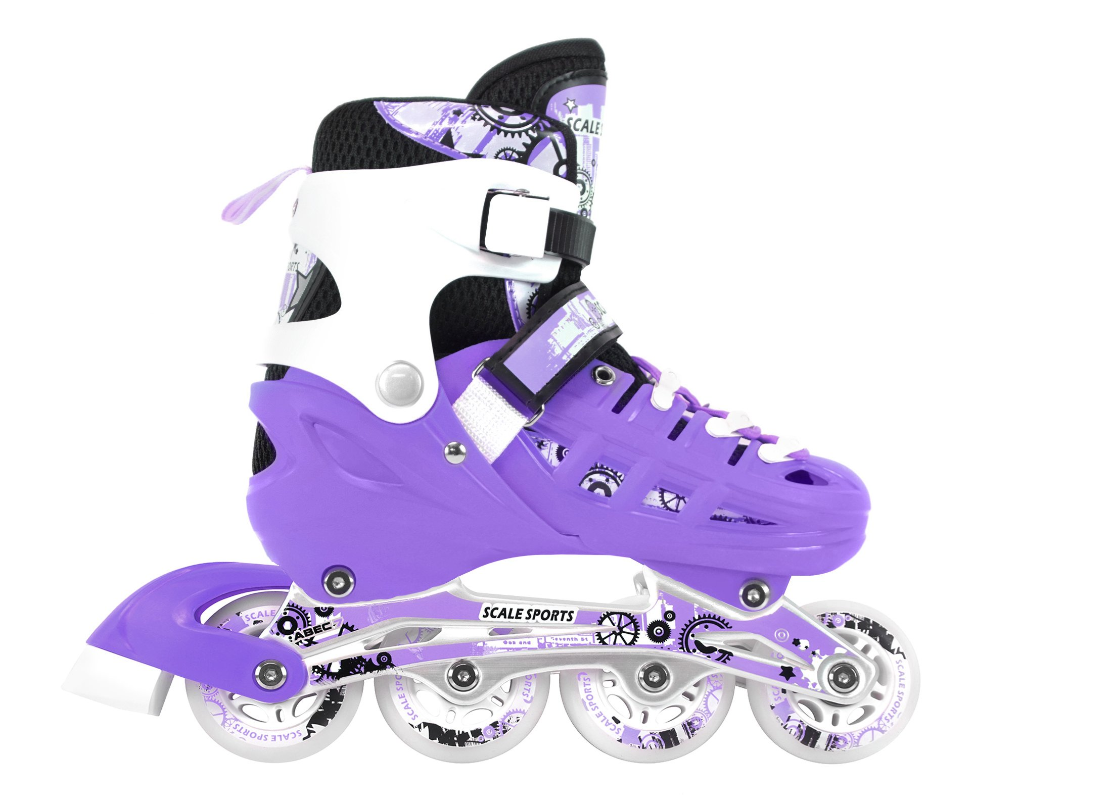 Adjustable Purple Inline Skates Ice Skates Combo Pack Gift Boxed For Kids Size Small
