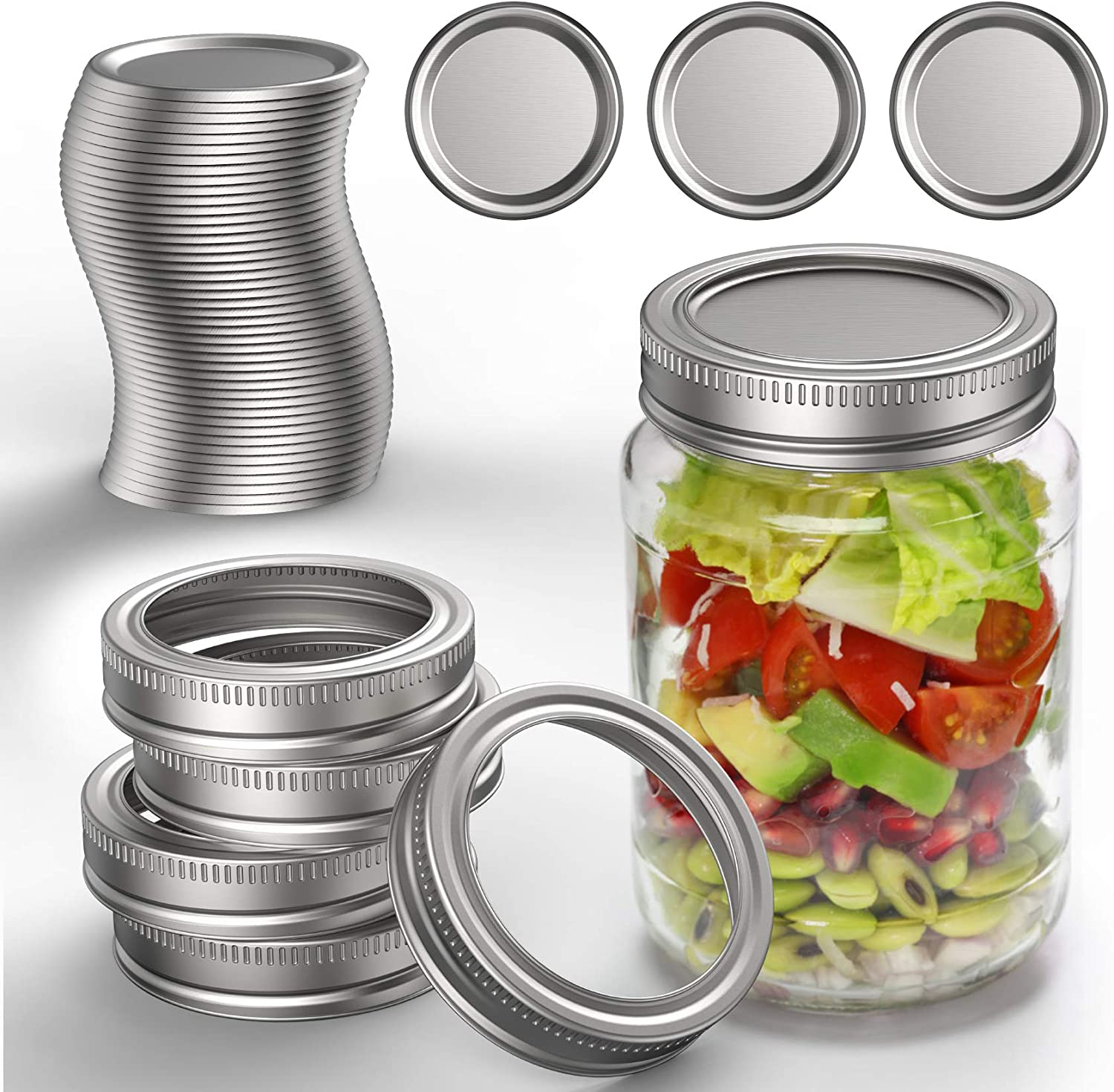 48+5 PCS Canning Lids Bands, BOIROS Regular Mouth Canning Lids Rings for Mason Jars/Ball Jars/Canning Jars, Split Leak-Proof Reusable Canning Jar Lids Caps (Jars NOT Included, 48 Lids+5 Bands) -70mm