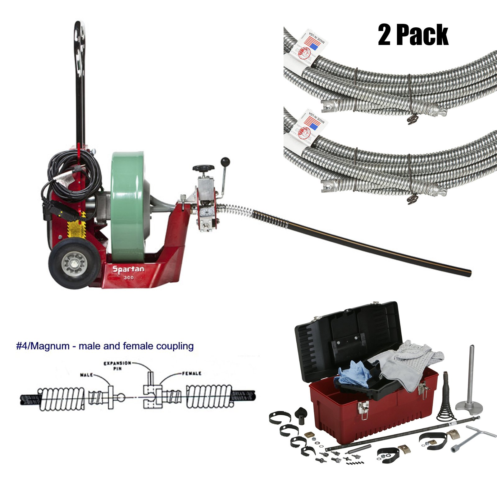 Spartan Tool 300 Cable Pipe Drain Machine with 50'x.55'' Pipe Cleaning Cable and 0.55'' Magnum Tool Box and Cutter Kit