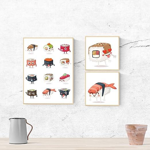 Nacnic Set de Tres láminas Sushi. Pack de Tres Poster para ...