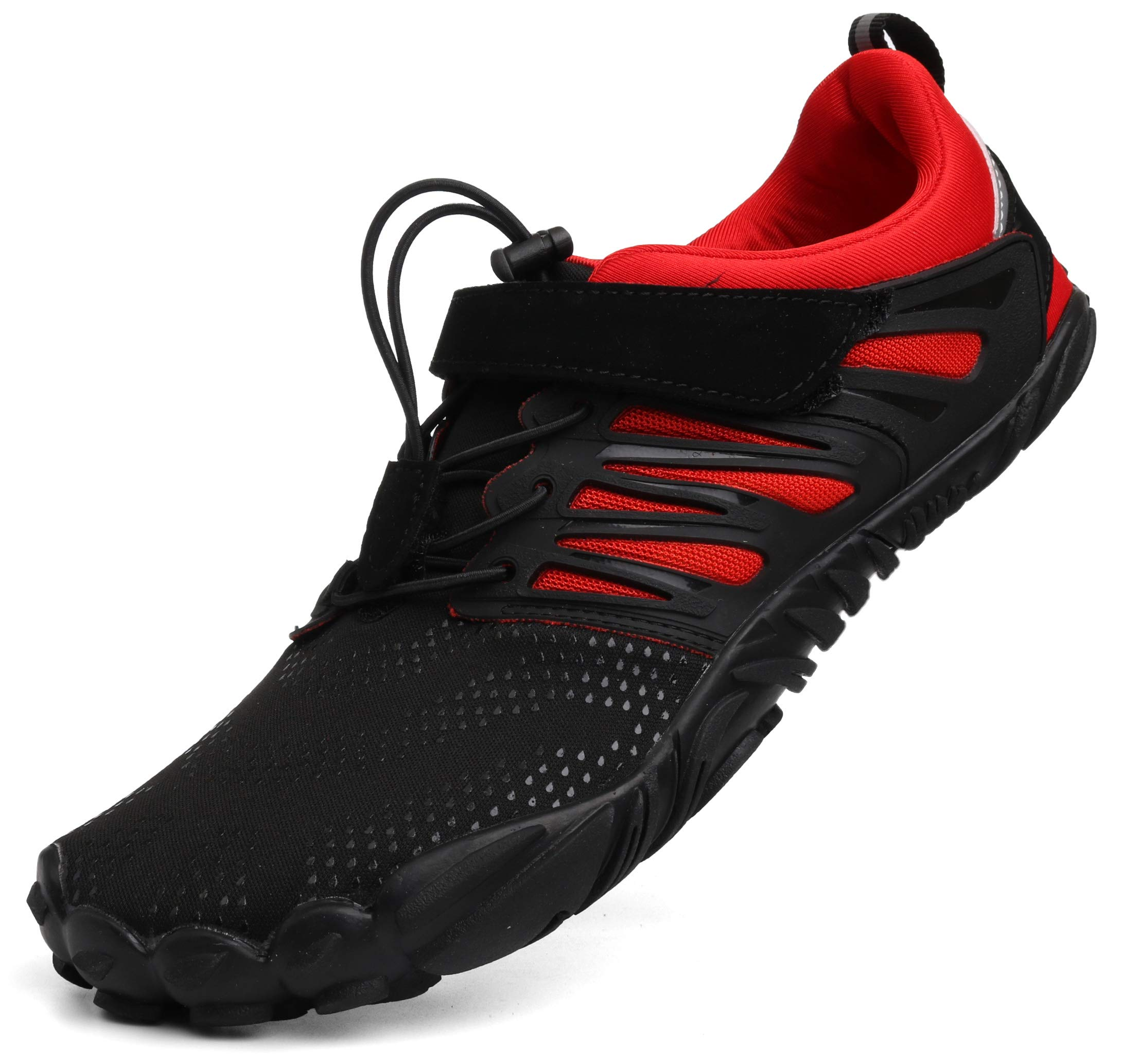 WHITIN Men's Minimalist Barefoot Shoes Low Zero Drop Trail Running 5 Five Fingers Wide Toe Box for Male Free Breathable Fitness red Size 12 by WHITIN