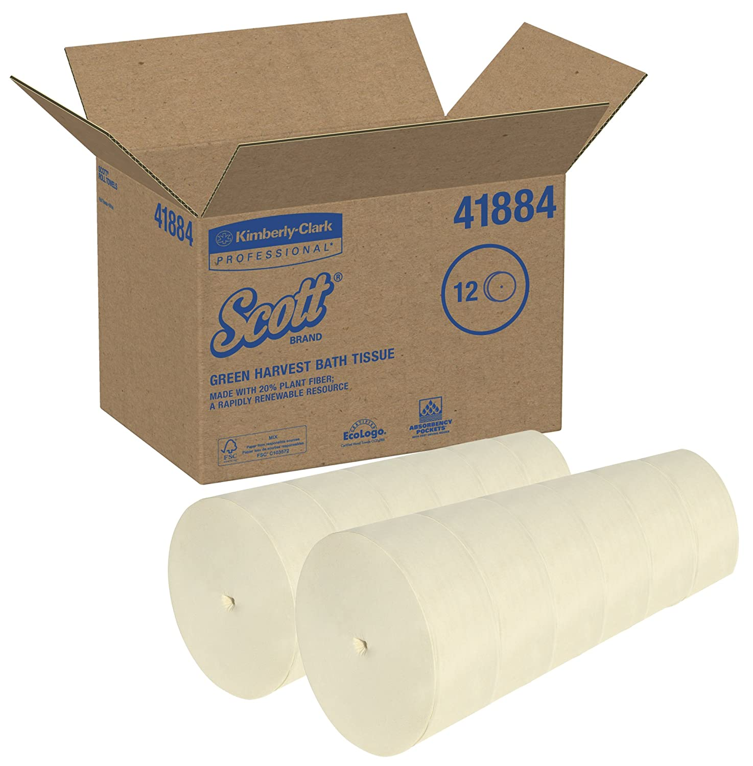 Amazon.com: Scott Coreless Jumbo Roll Toilet Paper (41884), with Rapidly Renewable Plant Fiber (Green Harvest), 2-Ply, Soft Wheat Color, 12 Rolls/Case, ...