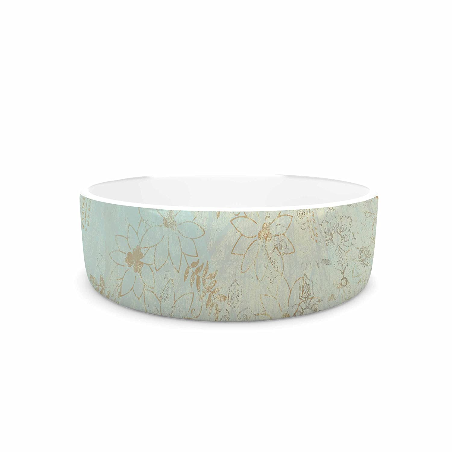 KESS InHouse Li Zamperini Vintage  Beige Teal Pet Bowl, 7