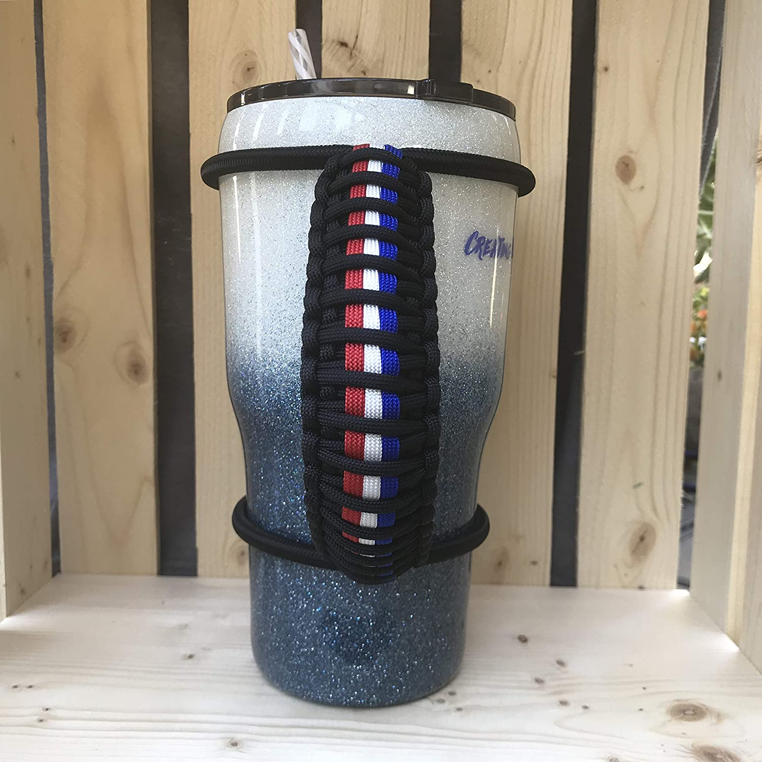 Paracord Handle for Tumbler Red White Blue Tumbler Handle Thin Line Tumbler Handle 20 30 32 40oz Handle Custom Tumbler Handle