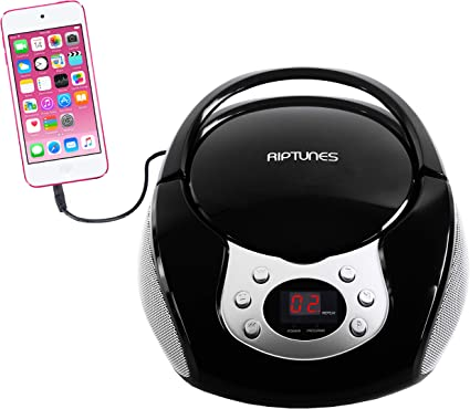 Black Riptunes Portable CD Player with AM FM Radio Potable radios Boom Box with Aux Line-in