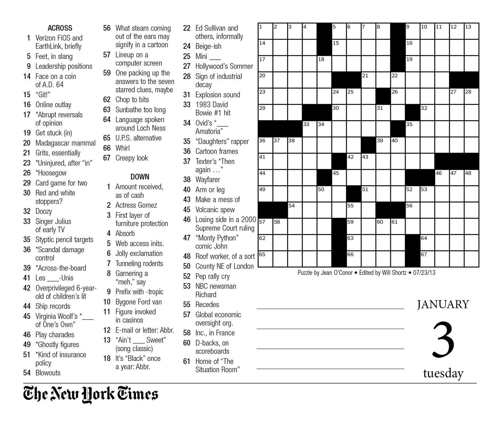 graphic relating to New York Times Crossword Printable Free Sunday called The Clean York Moments Crosswords 2017 Working day-in direction of-Working day Calendar: The
