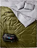 Sleepingo Double Sleeping Bag For Backpacking, Camping, Or Hiking. Queen Size XL! Cold Weather 2 Person Waterproof Sleeping Bag For Adults Or Teens. Truck, Tent, Or Sleeping Pad, Lightweight
