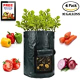 4 Pack 10 Gallon Extra Thick Garden Potato Grow Bags with Flap and Sturdy Handles and Ventilated Holes on the Bottom and Side Heavy Duty Suitable for Potato, Carrot, Tomato, Onion, Flowers and etc