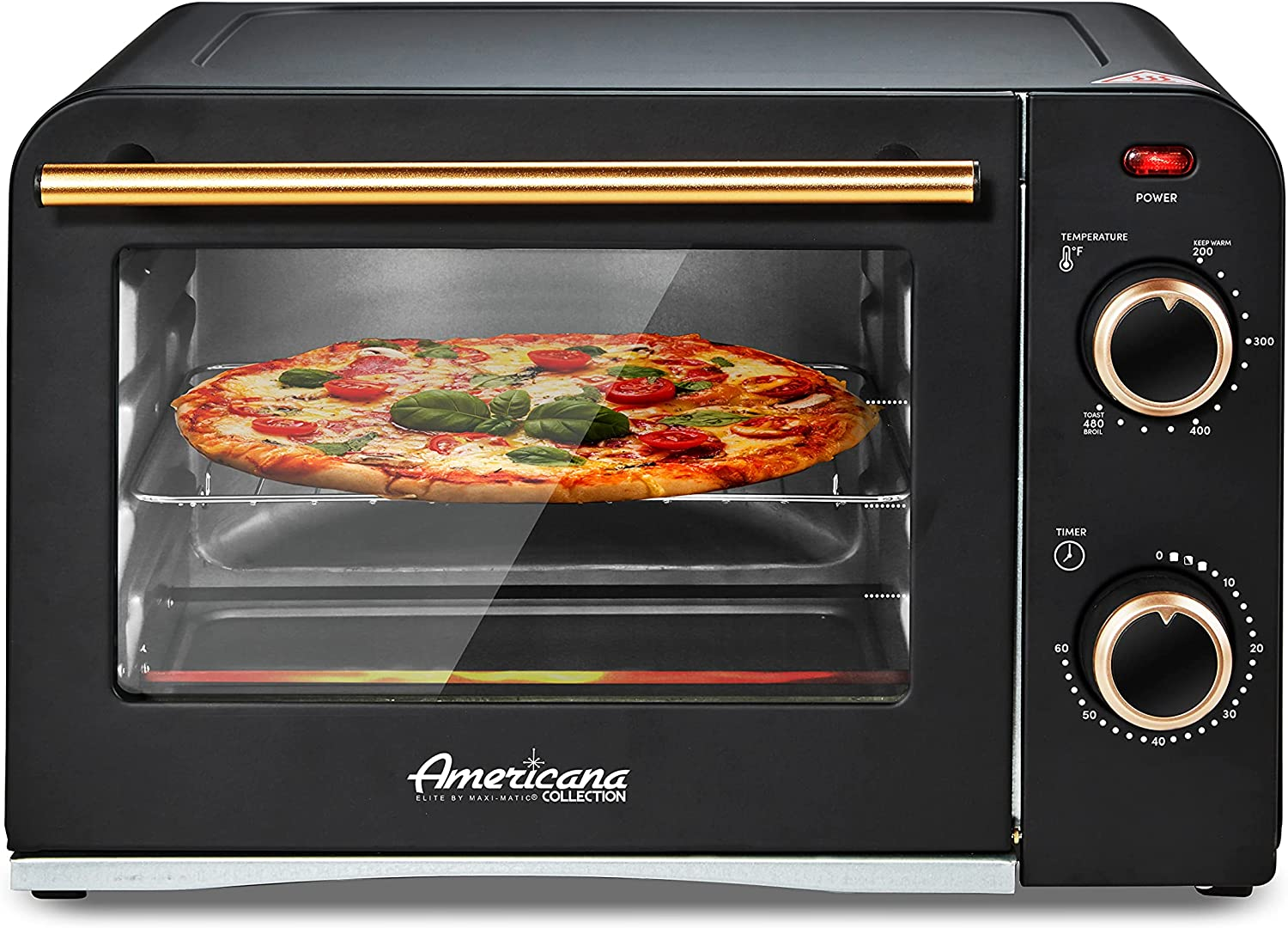 """Elite Gourmet Americana Fits 9"""" Pizza, Vintage Diner 50's Retro Countertop Toaster oven Bake, Broil, Toast, Temperature Control & Adjustable 60-Minute Timer, Glass Door Printed Wrong, Black, 4 Slice"""