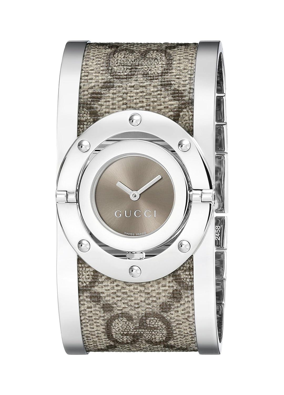 1458597caa6 Gucci Femme Ya112425 Twirl Bracelet de montre en acier inoxydable avec  bande de tissu  Amazon.fr  Montres