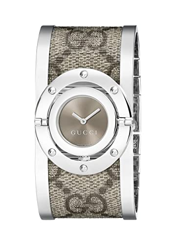 89ef15146c2 Image Unavailable. Image not available for. Color  Gucci Twirl Stainless  Steel Bangle with Fabric Band Women s ...