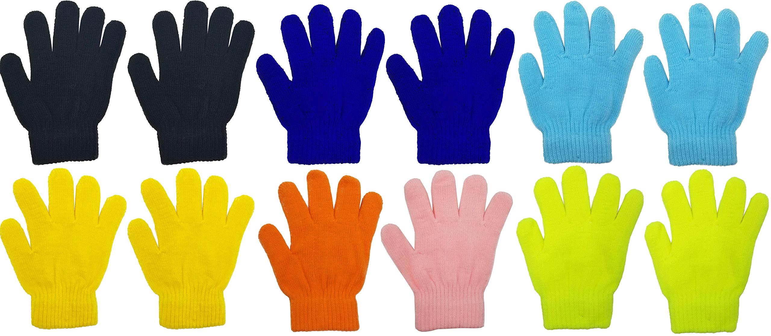 12 Pairs Winter Magic Gloves for Kids, Stretchy Warm Bulk Pack Boys Girls Children (12 Pairs Assorted Solids D)