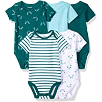 Hanes Ultimate Baby Baby-Boys BF1BS5 Flexy 5 Pack Short Sleeve Bodysuits Bodystocking - Multi