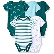 Hanes Ultimate Baby Flexy 5 Pack Short Sleeve Bodysuits, Greens, 0-6 Months
