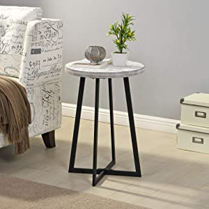 FirsTime & Co. Miles White Farmhouse Shiplap Table, American Crafted, Aged White, 16 x 16 x 22 ,