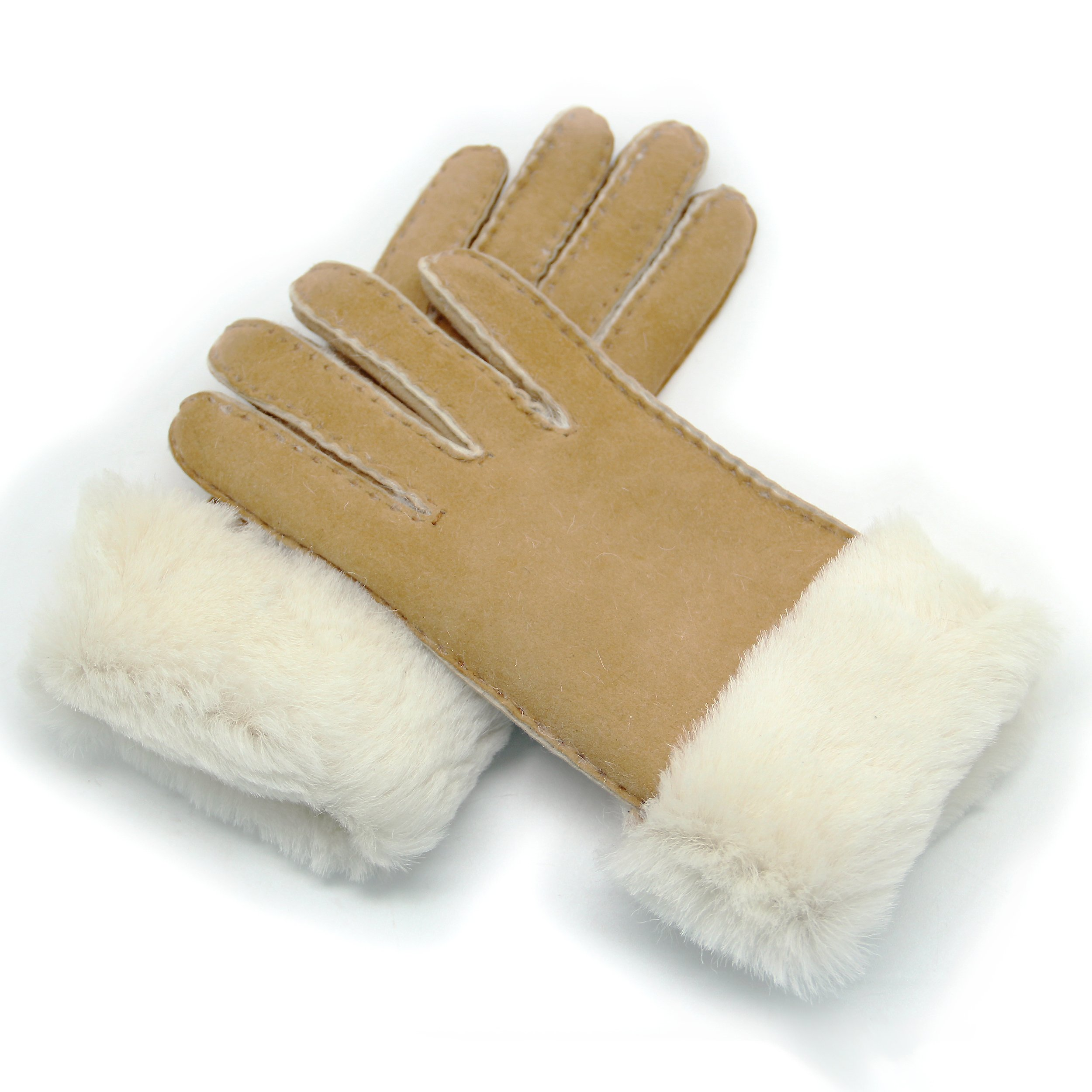 YISEVEN Women's Rugged Sheepskin Shearling Leather Gloves Plain Flat Design Soft Thick Furry Fur Lined Warm Heated Lining Cuffs for Winter Cold Weather Dress Driving Work Xmas Gifts, Khaki Small