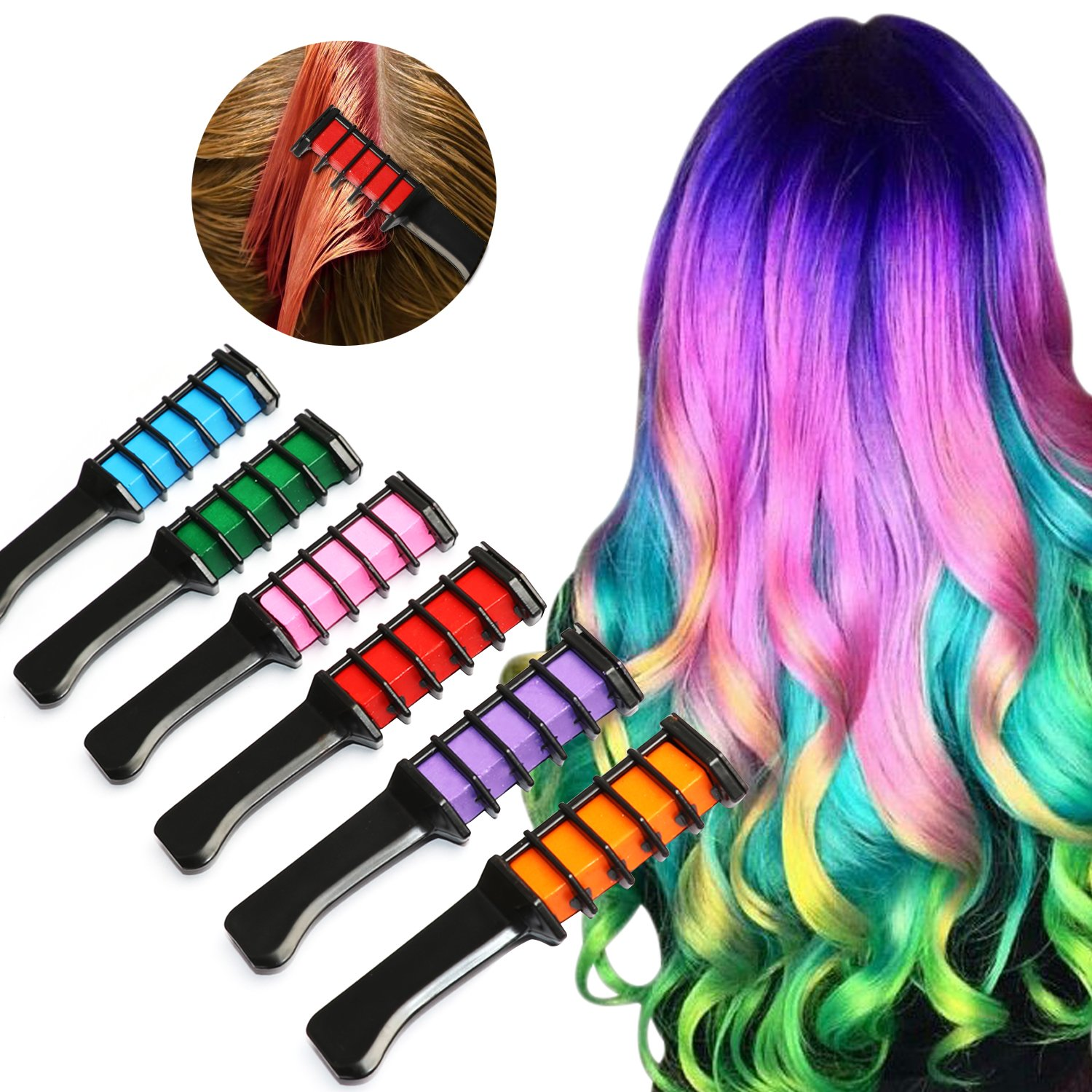 Hair Chalk Comb 6 Piece Metallic Glitter Temporary Hair Color Edge Chalkers Built in Sealant Upgrade Non-Toxic Rainbow Colored for All Hair Colors