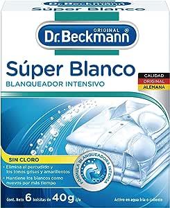 Dr. Beckmann Blanqueador Intensivo Súper Blanco en Polvo Sin Cloro, 1 Caja con 6 Bolsas de 40g c/u, 6 count