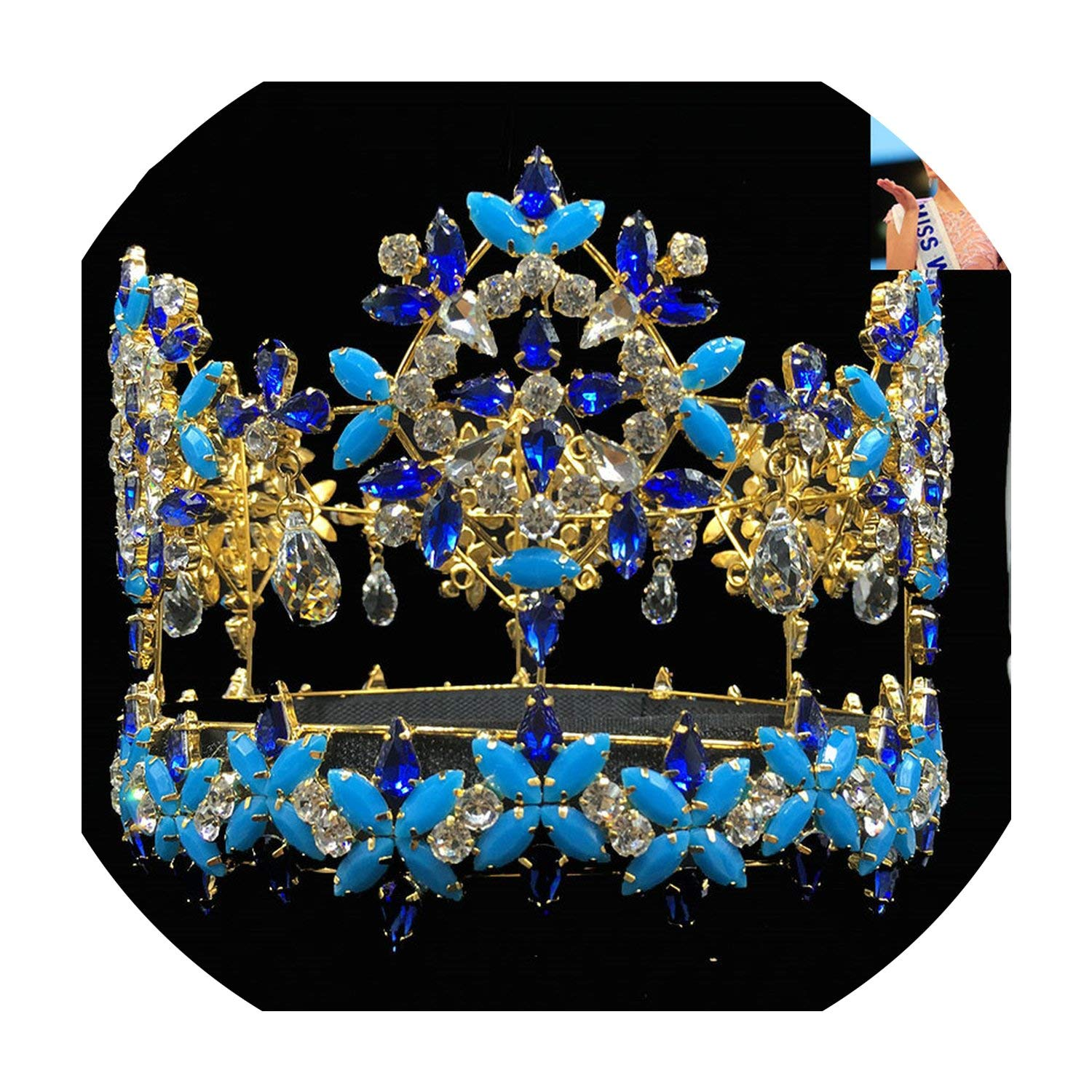 Full Round Miss World Crown Tiara With Blue Crystal Rhinestones by Peony red