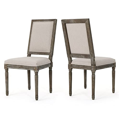 Christopher Knight Home Margaret Traditional Fabric Dining Chairs Set of 2 , Wheat Dark Brown