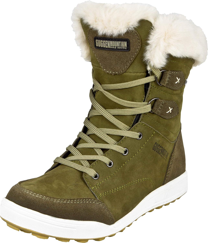 GUGGEN MOUNTAIN HPC56 Botas De Piel Sintético para Mujer Zapatos De Invierno Botas De Tobillo De Cuero Genuino Piel con Forro Zapatos para Exterior Prenda Impermeable con Membrana