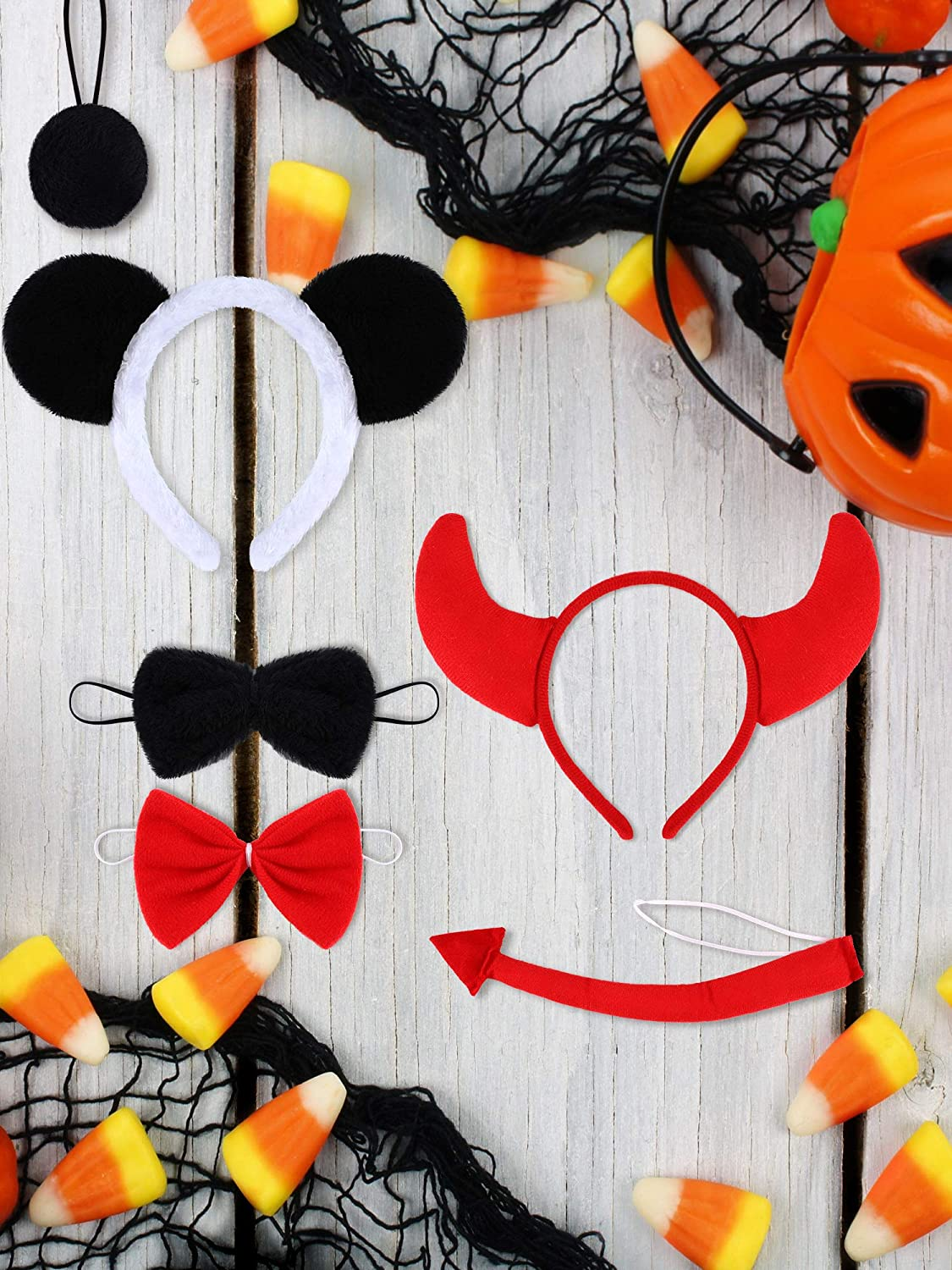 6 Pieces Halloween Costume Kit Panda Bull Ear Headband Tail Bow Tie Cosplay Accessories for Party Favors