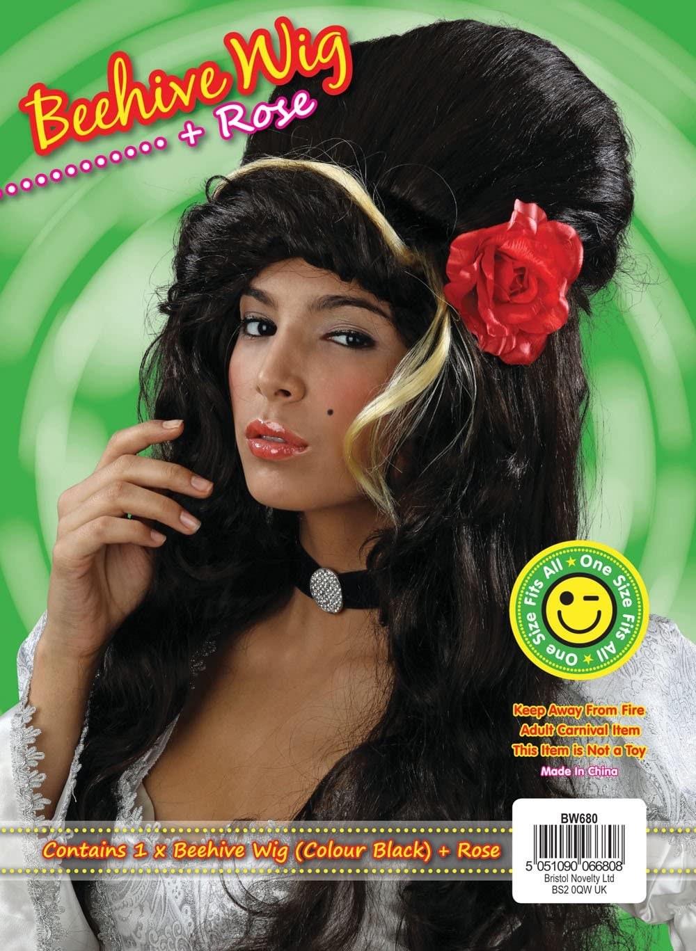 NEW BLACK AMY WINEHOUSE WIG BEEHIVE WITH RED ROSE (peluca): Amazon ...