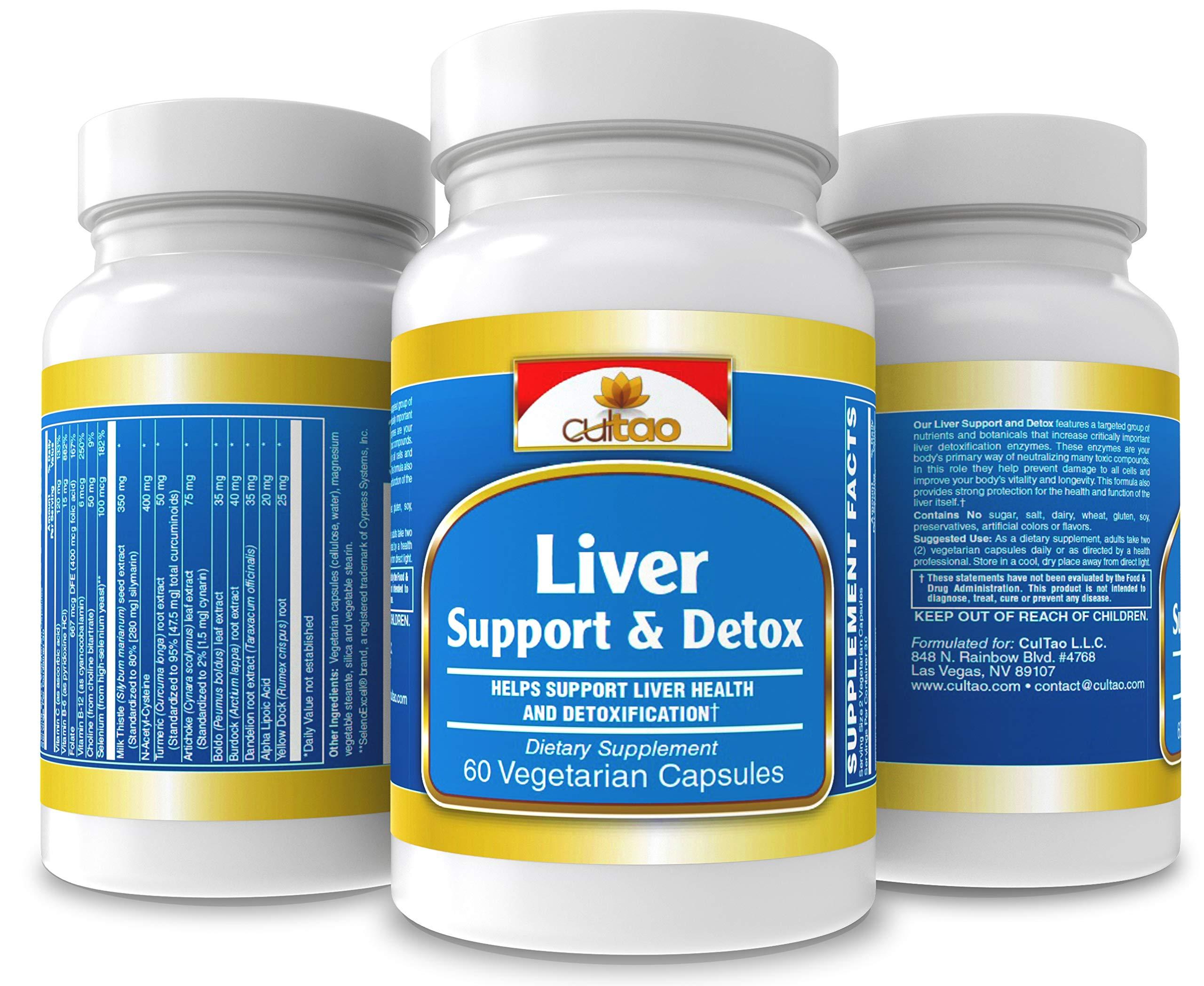 Liver Support & Detox - Natural Liver Cleanse > Boost Immune System > Burn Fat Easier - Premium Extract: Milk Thistle, Dandelion, Artichoke, Turmeric + Antioxidant: NAC, Organic Selenium - 60 Vcaps
