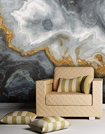 Buy Gray And Gold Marble Stone Quartz Agate Peel And Stick Wallpaper Removable Wall Mural 6190 108in W X 144in H Online At Low Prices In India Amazon In