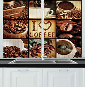 Ambesonne Brown Kitchen Curtains, I Love Coffee Theme Collage Roasted Beans  Brewing Machines and Cups Aromatic Drink, Window Drapes 2 Panels Set for ...