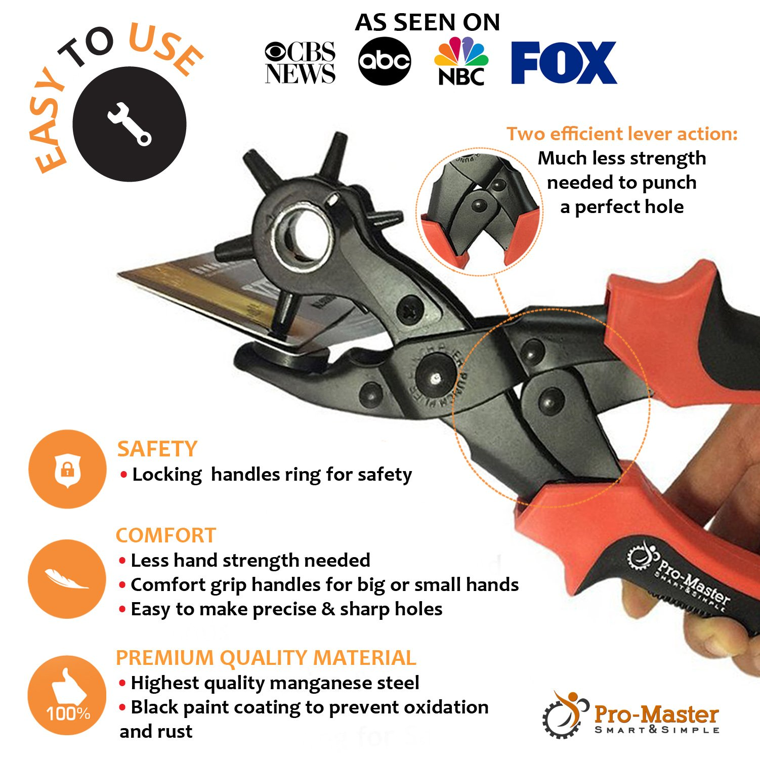 Best Leather Hole Punch Set for Belts, Watch Bands, Straps, Dog Collars, Saddles, Shoes, Fabric, DIY Home or Craft Projects. Super Heavy Duty Rotary Puncher, Multi Hole Sizes Maker Tool, 3 Yr Warranty by ProMaster (Image #3)