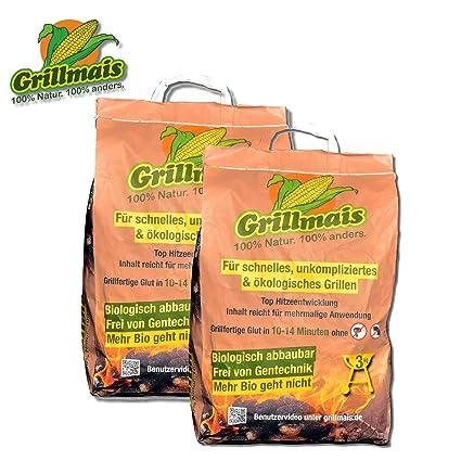 Grillmais Barbacoa maíz 2 x 3 kg Carbón de maíz 100% Natural 100% SOSTENIBLE