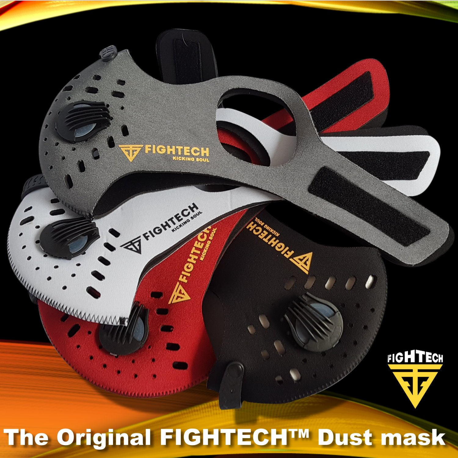 Anti-Pollution Dustproof/Dust Mask with 2 Valves and 4 Activated Carbon N99 Filters. Filtration of Exhaust Gas, Pollen Allergy and PM2.5. Cycling Face Mask for Outdoor Activities by FIGHTECH (BLK) by FIGHTECH (Image #6)