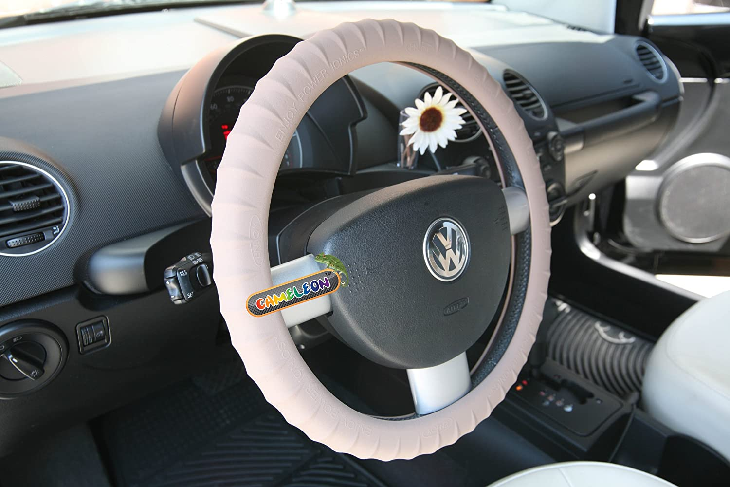 by Cameleon New Silicone-Taupe Brown Steering Wheel Cover with Negative Ion Tech