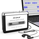 Dansrue Portable USB Cassette Player Tape to MP3 Converter Recorder via USB Compatible with Laptops Mac and Personal Computers With Earphones