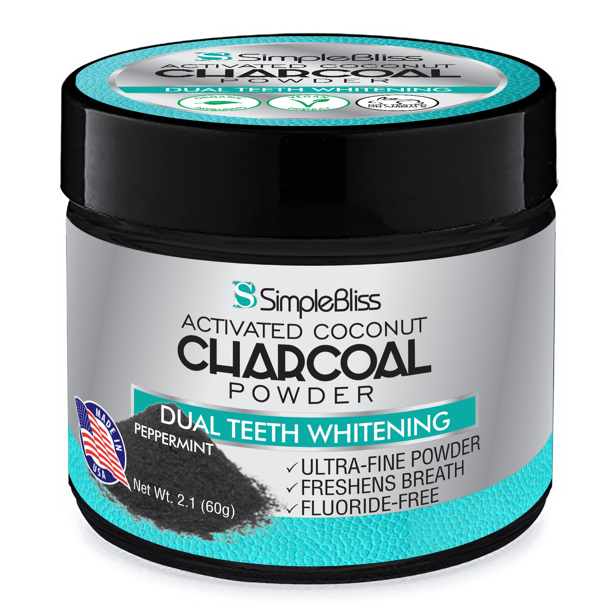 Activated Charcoal Teeth Whitening Powder Toothpaste 60g - All Natural, Non Abrasive, Safe & Effective Organic Coconut Tooth Whitener - Removes Stains, Fluoride Free, Made in USA - Peppermint