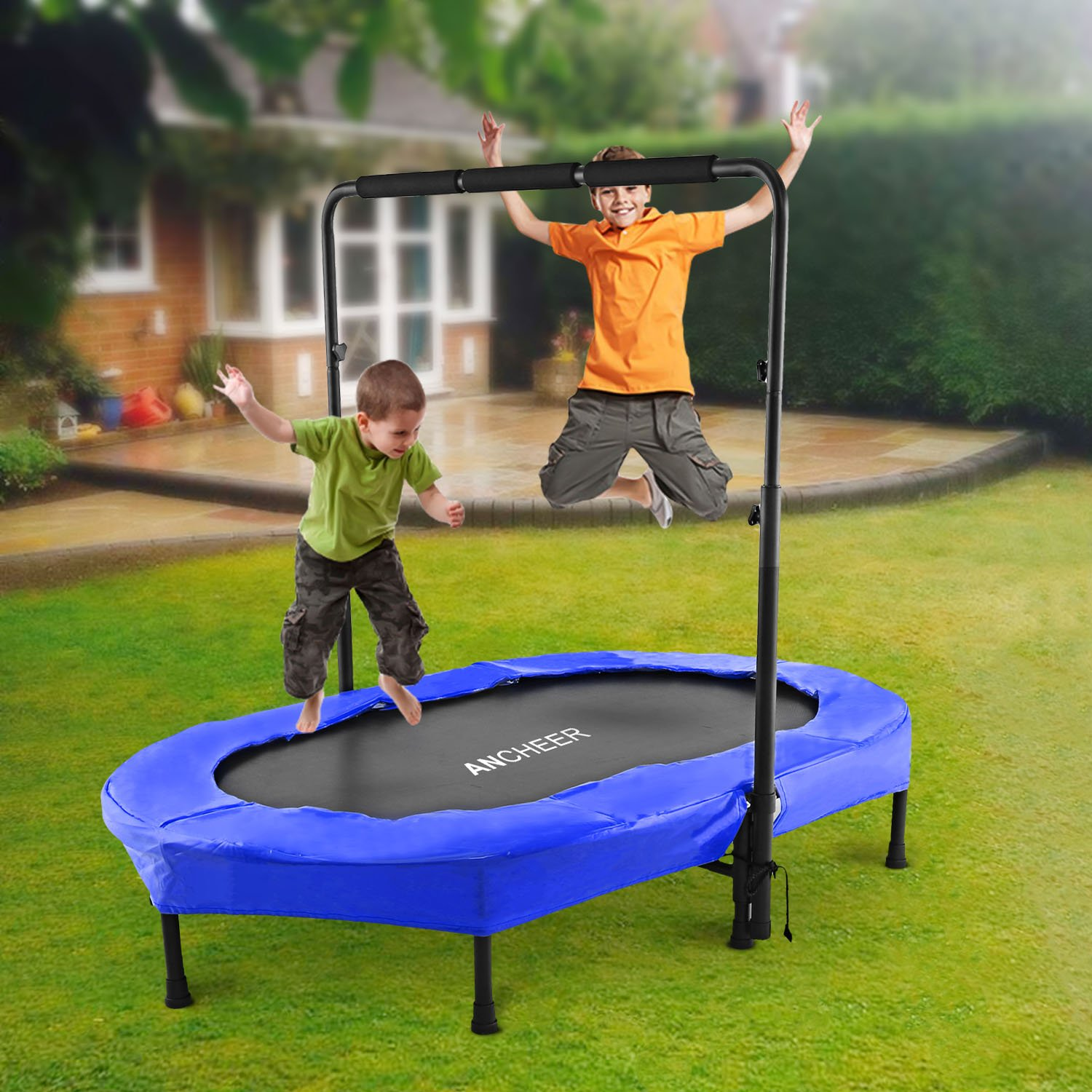ANCHEER Rebounder Trampoline, Foldable Exercise Trampoline with Adjustable Handrail for Adults Kids, Parent-Child Mini Trampoline for Two Kids ( 37.8'' - 50'') by ANCHEER