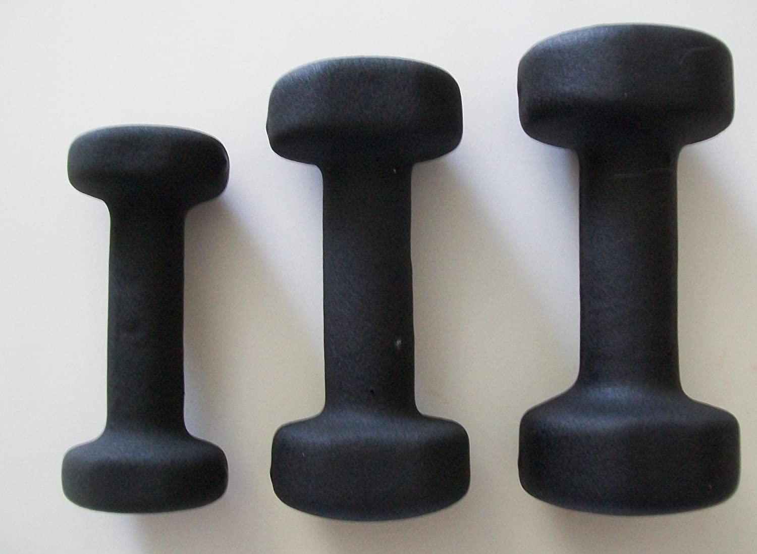 Kamparts 3 lb, 5 lb, and 8 lb. Black Neoprene Covered Dumbbell Set 3 Pairs