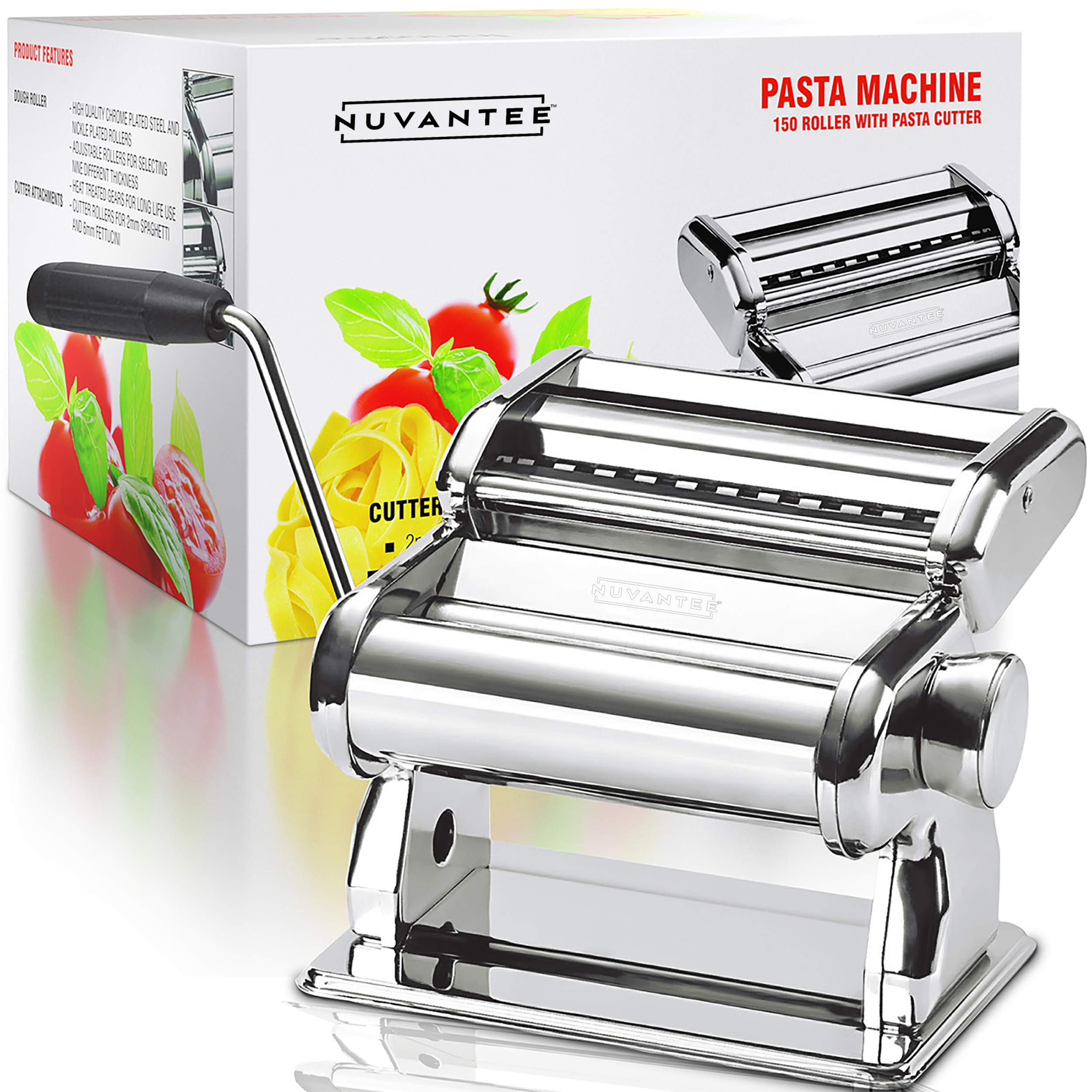 Nuvantee Pasta Maker - Highest Quality Pasta Machine - 150 Roller with Pasta Cutter - 7 Adjustable Thickness Settings by Nuvantee