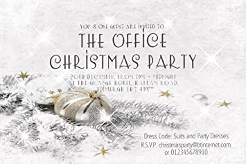 40 Christmas Party Or Dinner Dance Invitations Personalised Snow And Glitter Ball For