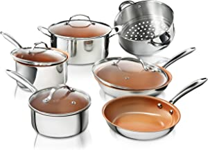 Gotham Steel Stainless Steel 10 Piece Pro Chef Cookware Set, Premium Copper Nonstick Pots and Pans – Tri-Ply Bonded, Coated with Titanium and Ceramic Surface for the Ultimate Release – Dishwasher Safe