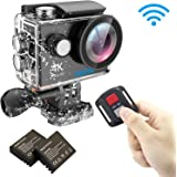 EKEN H9R 4k Videocamera Action Camera Wifi Sport Waterproof Impermeabile con 2 batteria + Charging dock + Tripod (Nero)