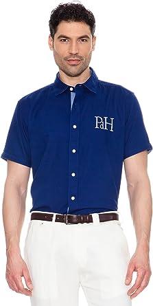 Pedro del Hierro Camisa Logo Grande Azul M: Amazon.es: Ropa y accesorios