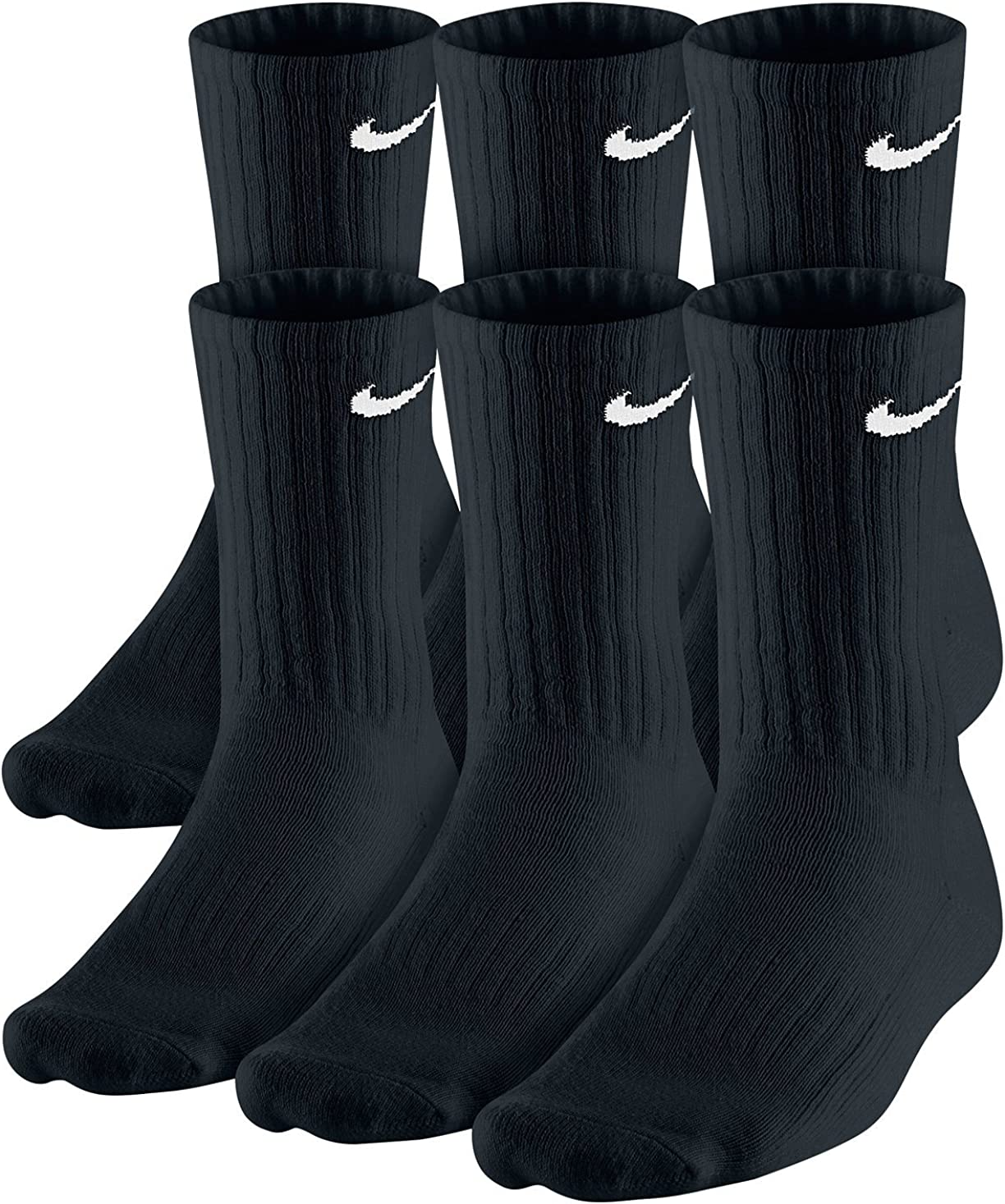 Nike Dri-Fit Classic Cushioned Crew Socks 6 Pair Black with, Black, Size 9.0