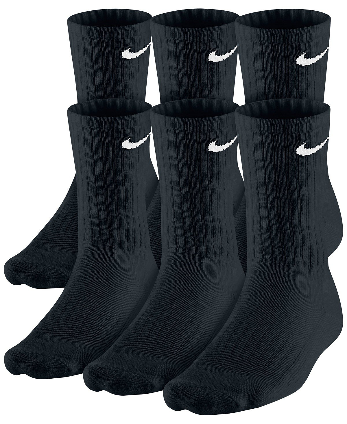 NIKE Dri-Fit Classic Cushioned Crew Socks 6 PAIR Black with White Swoosh Logo) LARGE 8-12 for cheap