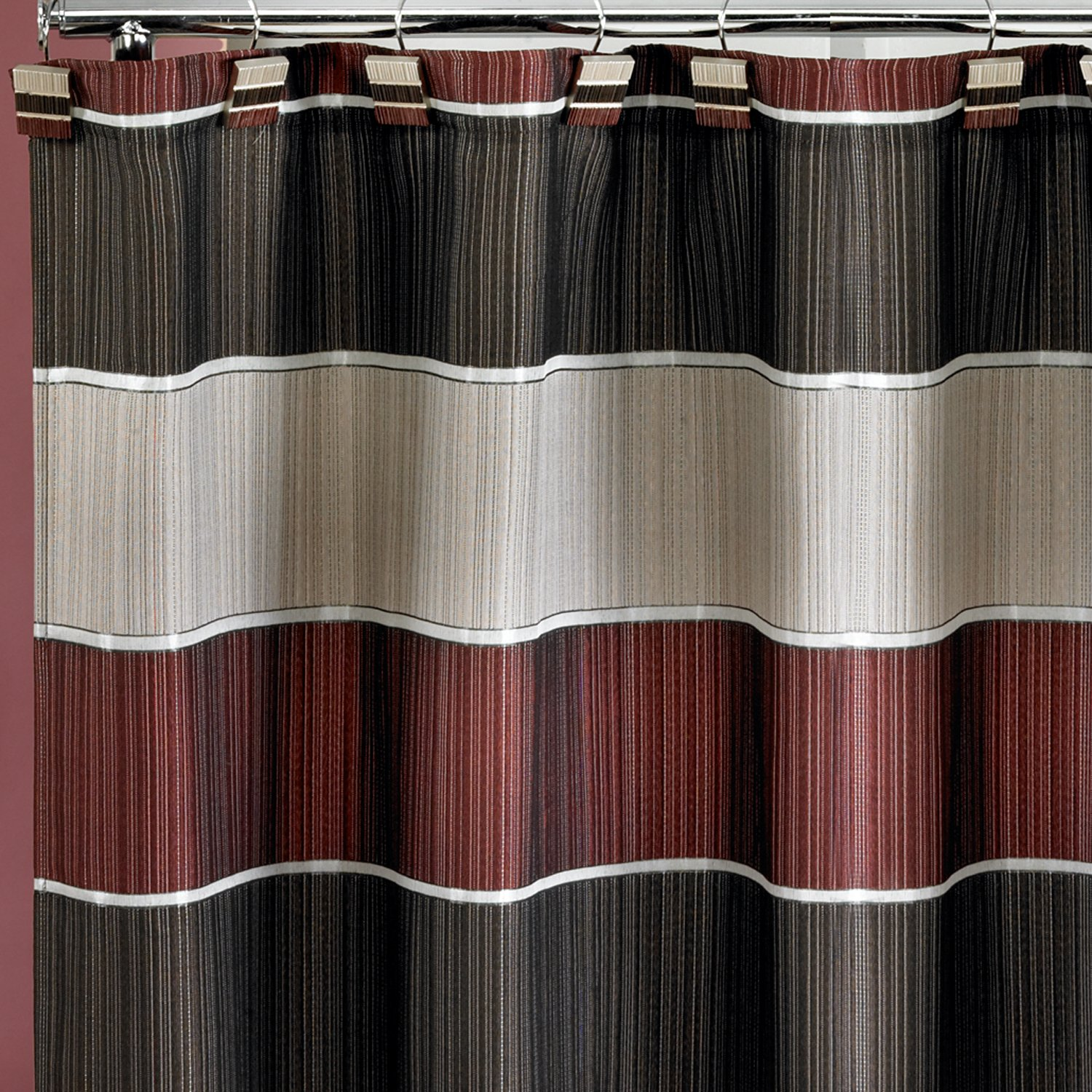 Amazon Popular Home The Modern Line Collection Fabric Shower Curtain Burgundy Kitchen
